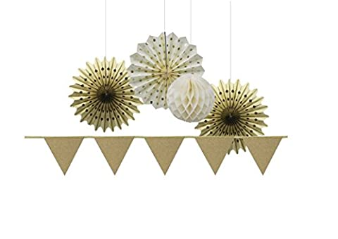 SUNBEAUTY Gold Series Gold Color Small Tissue Paper Fans and Gold Glitter Powder Triangle Banner Ivory Honeycomb Balls Pack of 5 for wedding ceremony valentines