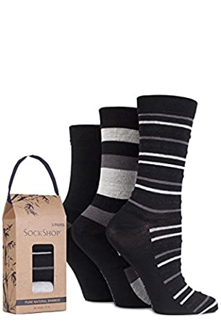 SockShop Women's 3 Pair Gift Boxed Bamboo and Feather Striped Socks 4-8 Ladies Black