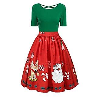 TWBB Herbst Damen Weihnachten Abend Drucken Kleid Kurzarm O-Ausschnitt Kleider Swing-Kleid