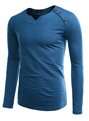 HEMOON Herren V-Ausschnit Sweatshirt Langarmshirt T-shirt Einfarbig Königsblau