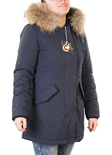 Giubotto parka donna colori (rosso, nero, blu) con pelliccia vera volpe removibile antony morale 3 colori disponibili copia wool artik parka (l 46, blu)