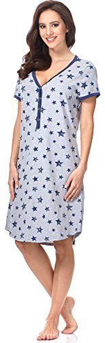 Italian Fashion IF Damen Stillnachthemd Kometa 0114 Melange/Dunkelblau