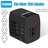Die besten Travel Adapters - Reiseadapter, 2000W Universal Reisestecker, Travel Adapter mit 4 Bewertungen