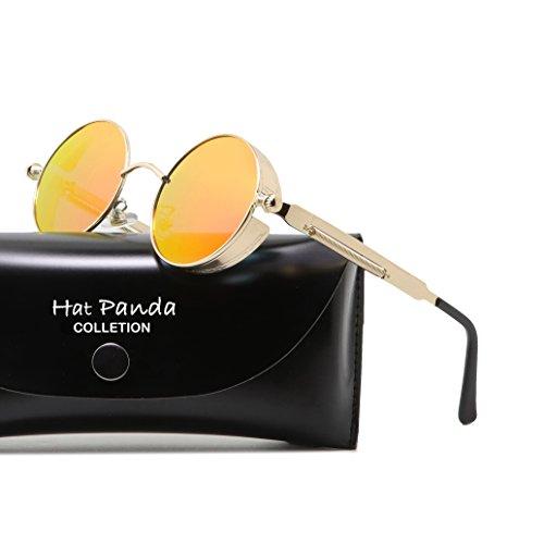 Polarisierte Runde Vintage Retro Sonnenbrille für Männer Frauen (Gold Orange, Polarisiert)