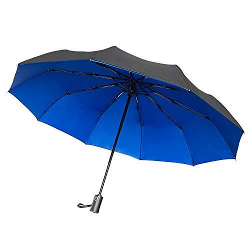 Paimio Regenschirm Taschenschirm Sturmfest Auf-Zu-Automatik Schirm für Damen Herren Blau