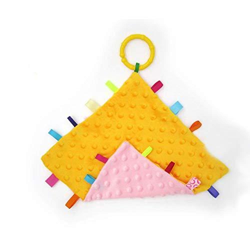 Rose et Jaune bébé Tag Couverture - Coffre-fort, doux et confortable Tag doudou, Consolateur meilleur cadeau pour bébé tout-petits enfants