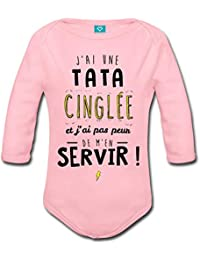 Spreadshirt J Ai Une Tata Cinglée Body bébé Bio Manches Longues 254907f7bec