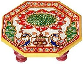Handicrafts Paradise Octagonal Peacock Design Painted Marble Chowki (10.2 cm x 10.2 cm x 2.55 cm)
