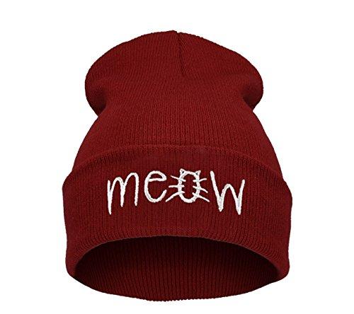 Beanie Hüte Mützen Damen Herren Bad Hair Day Bastard Meow Swag Wasted Commes HAT HATS Morefazltd (TM(meow dark red)