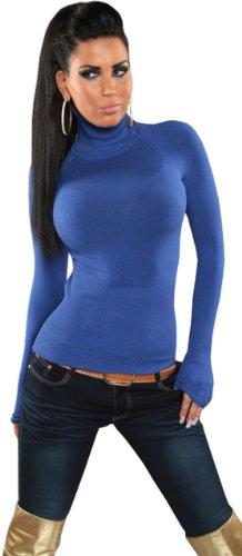In Style Damen Pullover langärmelig mit Rollkragen,S/M,Royalblau
