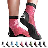 BPS 'Storm' Lycra Sports Socks - Sand Skins for Outdoor Volleyball, Surfing, Dive Boots, Canoeing, Snorkeling, Beach Soccer - for Men and Women - High Cut Socks (Pink Floral, XXXL)