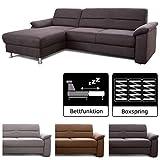 Cavadore Ascaro Ecksofa mit Longchair links / Boxspring-Sofa mit Schlaffunktion / Modernes Design / Maße: 254 x 84 x 171 cm (BxHxT) / Farbe: Anthrazit (dunkelgrau)