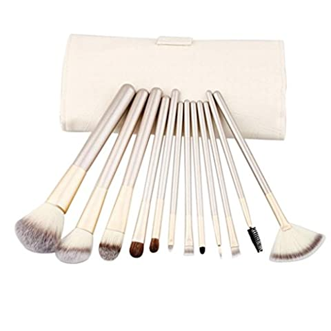 Clode® 12pcs pinceaux de maquillage mis Fondation Eyeshadow outil cosmétique avec cuir
