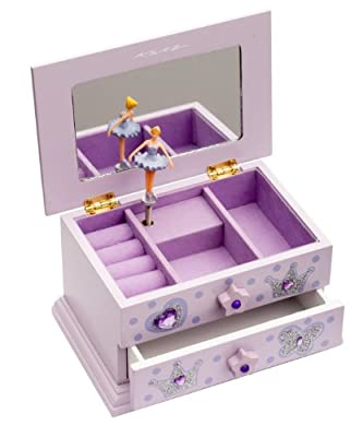 Girls Lilac Beautiful Ballet Dance Wooden Music Jewellery Box By Katz Dancewear JB10