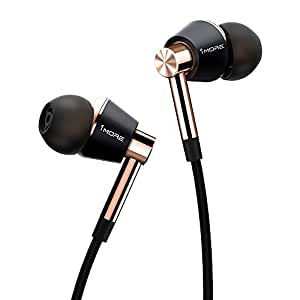 1MORE Triple Driver In-Ear Earphones Hi-Res Headphones with High Resolution, Bass Driven Sound, MEMS Mic, In-Line Remote, High Fidelity for iPhone/Android/PC/Tablet - E1001 Gold