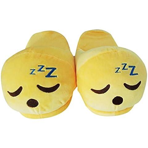 Pantofole inverno - 28 centimetri unisex Cartoon Emoji morbido peluche Interni Pantofole per donne e uomini - Giallo Flanella