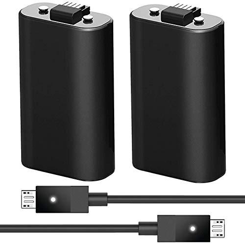 2Pack Xbox One Akku Pack und 2USB Ladekabel Kabel mit LED-Anzeige Licht-Kit für Xbox One/Xbox One X/Xbox One S Controller 2Akku im Lieferumfang Enthalten Anzeige-licht