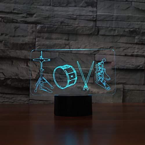 YDBDB 3D Künstlerische Liebe Trommeln Modellierung Tischlampe 7 Farben Led Nachtlichter Für Kinder Touch Usb Lampara Leuchte Wohnkultur Geschenke