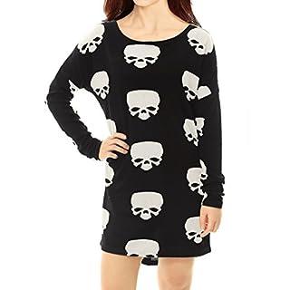 Allegra K Damen Halloween Langarm Rundhals Strick Muster Top Tunika Weiß XL (EU 48)