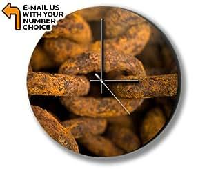Rusty Chain Photo Clock Horloge Murale
