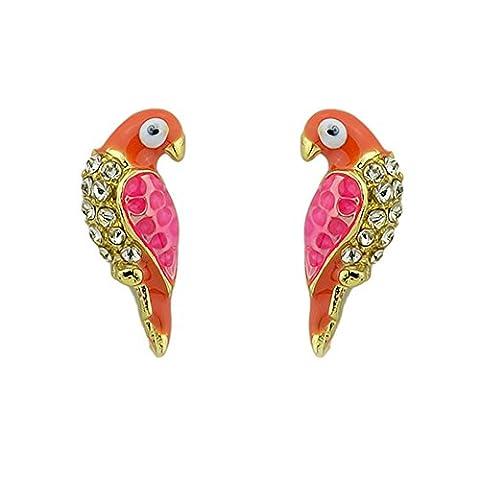 Red Pink small bird parrot Stud Fashion Earrings Rhinestone