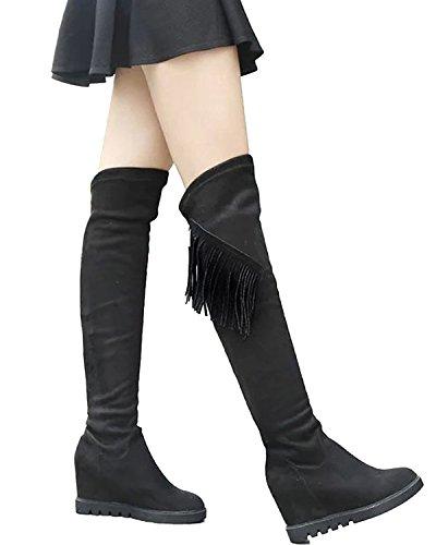 Minetom Donna Autunno Inverno Toe Rotonda Frangia Nappa Boots Sopra