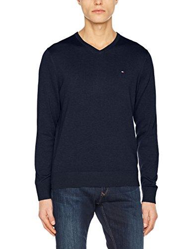 Tommy Hilfiger Herren Pullover Cotton Silk Vneck, Blau (Navy Blazer Htr 289), Large