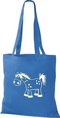 shirtstown Borsa di stoffa animale cavallo pony Blu reale
