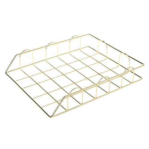 niumanery Folding Wrought Iron Letter Magazine Newspaper Holder Storage Rack File Tray for Office Desk Organizer Supplies Gold