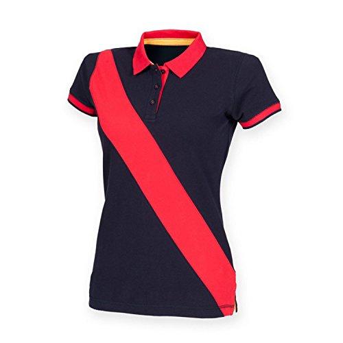 Front Row Femme-Polo avec bande diagonale FR213 House Multicolore - Bleu marine/rouge