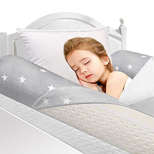 2 Pcs Barrière de lit Daisies en mousse pour bambins et enfants Pare-chocs de lit, garde-corps de sécurité avec housse antidérapante, imperméable et lavable armature de lit pour les tout-petits