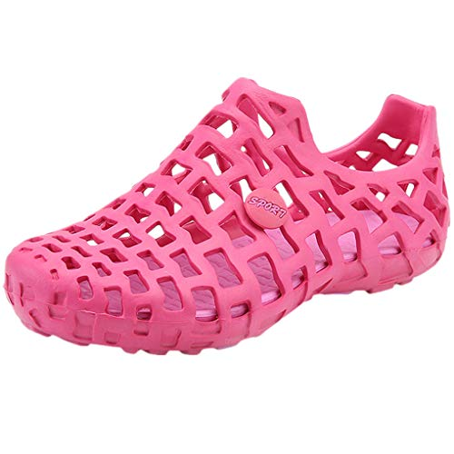 Dorical Sandalen/Strandschuhe Pantoletten Sommer Hausschuhe Wasserschuhe Badeschuhe Flach Aqua Slippers rutschfest Gartenschuhe Atmungsaktiv Beach Schuhe für Damen Herren (41 EU, Z008-Hot Pink) Hot Pink Slide