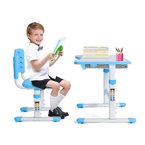 Kinderschreibtisch höhenverstellbar, Kindertisch mit Stuhl Ergonomisch Kinderschreibtisch Stuhl höhenverstellbar, Kindermöbel neigungsverstellbar