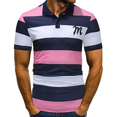 POLP Polos Manga Corta Hombre Negro Camiseta de Rayas con Botón Casual Empalme Camiseta de Manga Corta Top Blusa Azul Rosado M-3XL