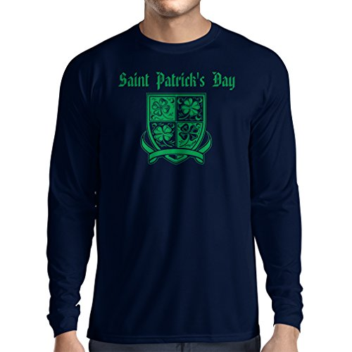 T-Shirt mit langen Ärmeln Saint Patrick's day Shamrock symbol - Irish party time (Medium Blau Mehrfarben)