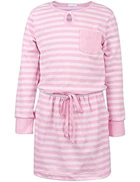 ephex Baby-Mädchen Kleid Jerseykleid mit Kontrast-Streifen mit Brusttasche für Babies