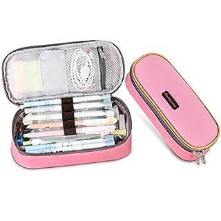 Trousse, Homecube Sac à Stylos Plumier Trousse à Crayons Trousse Scolaire Solide Durable Zipper pour Etudiants Filles (Rose)