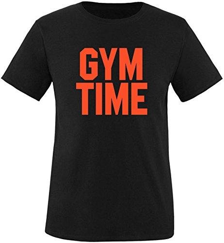 EZYshirt® Gym Time Herren Rundhals T-Shirt Schwarz/Orange