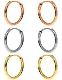 Córdoba Jewels |Set de pendientes en plata de Ley 925. Diseño Set de Pedientes Aro Bicolor