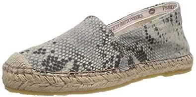 Fred De La Bretoniere Fred woman bestseller flat step-in espadrilles easy rubber sole, Espadrilles Femme - Gris (Light grey), 42 EU
