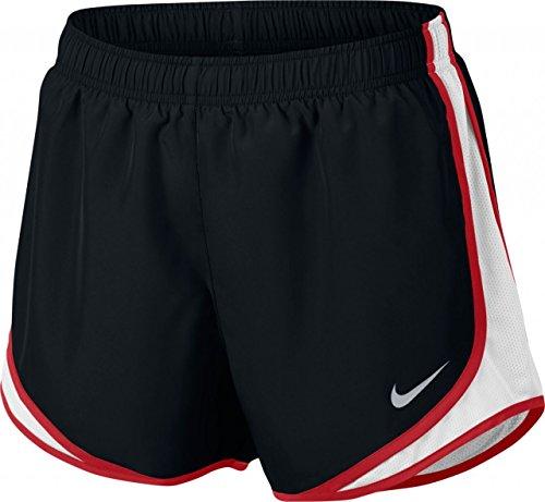 Nike W nk Dry Tempo Short, Damen M Schwarz (schwarz/weiß/Sport rot/Wolfgrau) -
