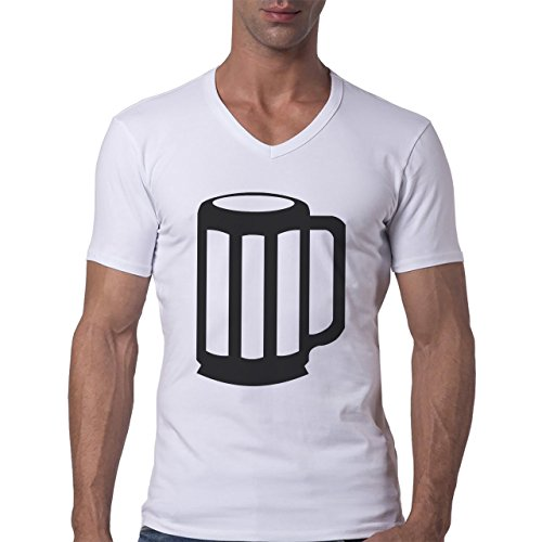 Beer Drink Oktoberfest Glass Black White Herren V-Neck T-Shirt Weiß