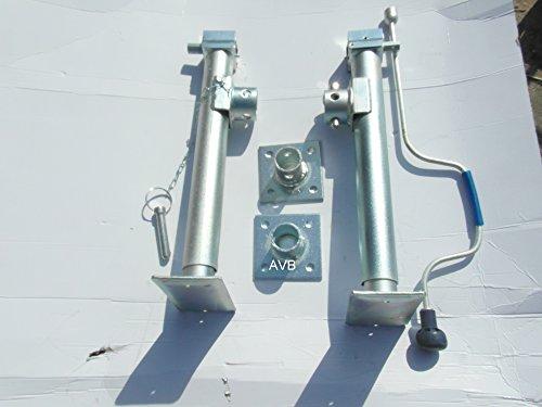 Preisvergleich Produktbild BESO Stützfuß 550 mm verzinkt klappbar m. Flansch,  Kurbel,  Montageschrauben Satz 2 Stück