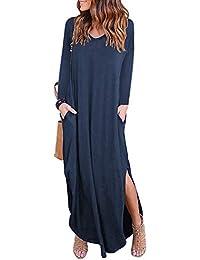 974fc4f56695f MYSHOW Femme Coton Robe Longue Tunique à Manches Longues pour avec Poche  Slit Loose Casual Tshirt