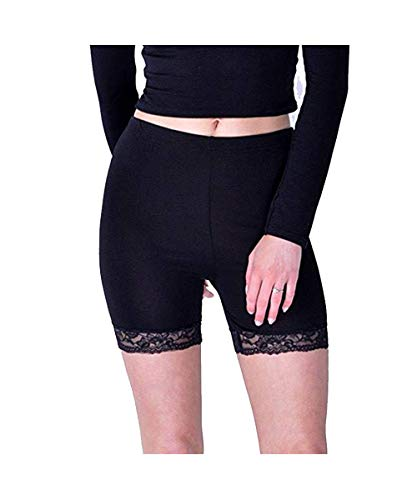Mymixtrendz. Ladies Basic Long Brief Under Skirt Shorts Soft Stretch Lace Trim Leggings Short Length Yoga Pants -