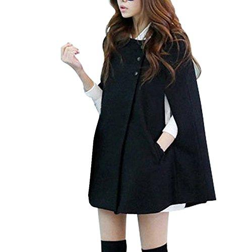 VOBAGA Nero Lana Batwing Cape cappotto delle donne Warm giacca invernale Poncho