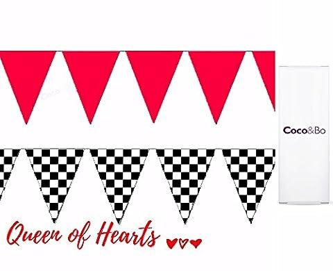 2 x & Coco Bo-Don't Be retard & Nappe Rouge Pois Noir 12 m Guirlande à fanions en plastique Motif Alice au Pays des merveilles en forme de dame de Coeur