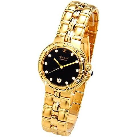 Oskar Emil Casablanca 300M - Reloj Diamante Oro Hombres, Con Esfera Negra