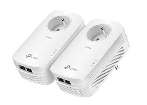 TP-Link CPL 2000 Mbps avec 2 Ports Ethernet Gigabit et Prise Intégrée, Kit de 2 - Solution idéale pour profiter du...