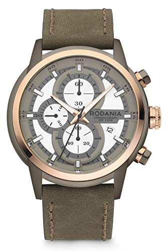 Rodania 2622225 Herren-Armbanduhr Energy Drive Chrono Quarz mit Armband Leder Khaki